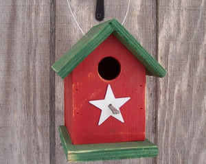 Song Bird Red Green Birdhouse Fully Functional Hand Crafted