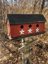 Load image into Gallery viewer, Birdhouse Three Compartment Red With White Stars Fully Functional