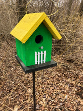 Load image into Gallery viewer, Song Bird Birdhouse Green Yellow Roof White Picket Fence Hand Crafted