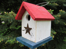 Load image into Gallery viewer, Song Bird Red White Blue Birdhouse Fully Functional Hand Crafted