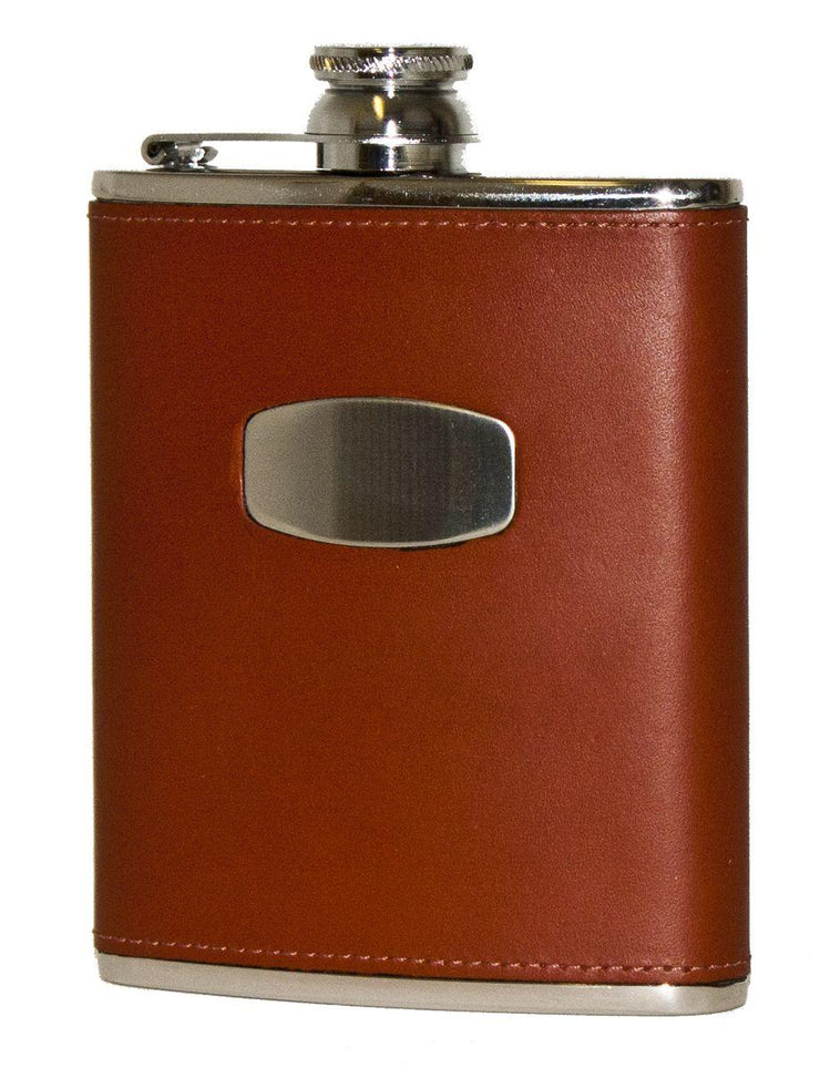 6oz Brown Leather Flask