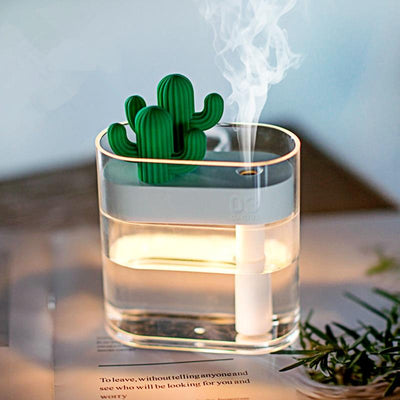 Clear Cactus Air Humidifier Running with Light