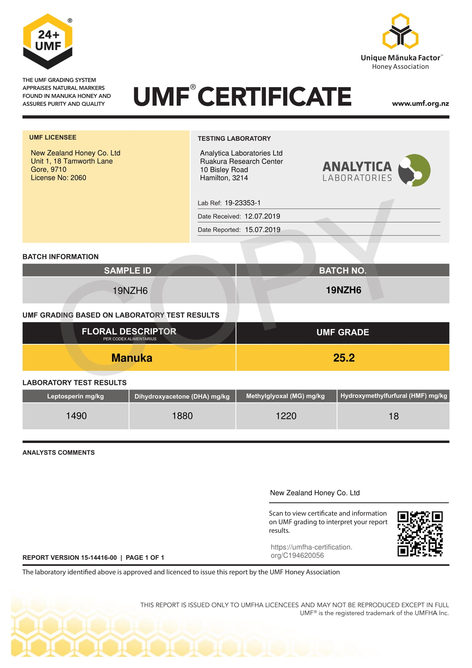 Manuka Honey UMF Certificate for LOT 19NZH6