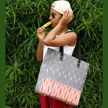 Load image into Gallery viewer, Ikat Grey Bucket Tote Bag