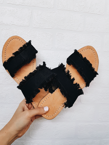 Harrison slides - Black Denim Double Straps