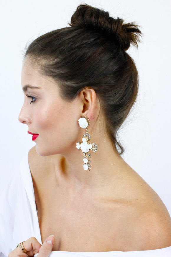 Gold White Flowers Large Cross Statement Earrings