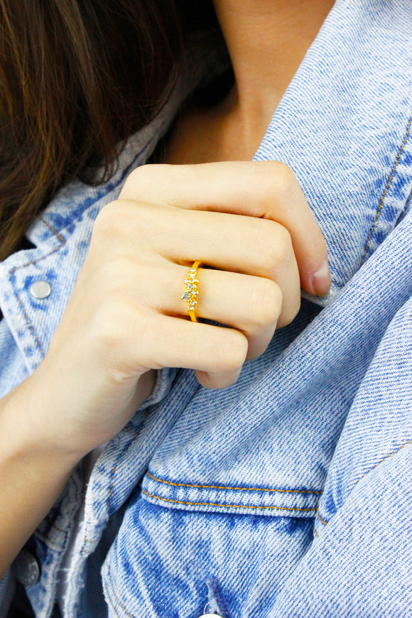 Gold Cluster Diamante Minimalist Ring