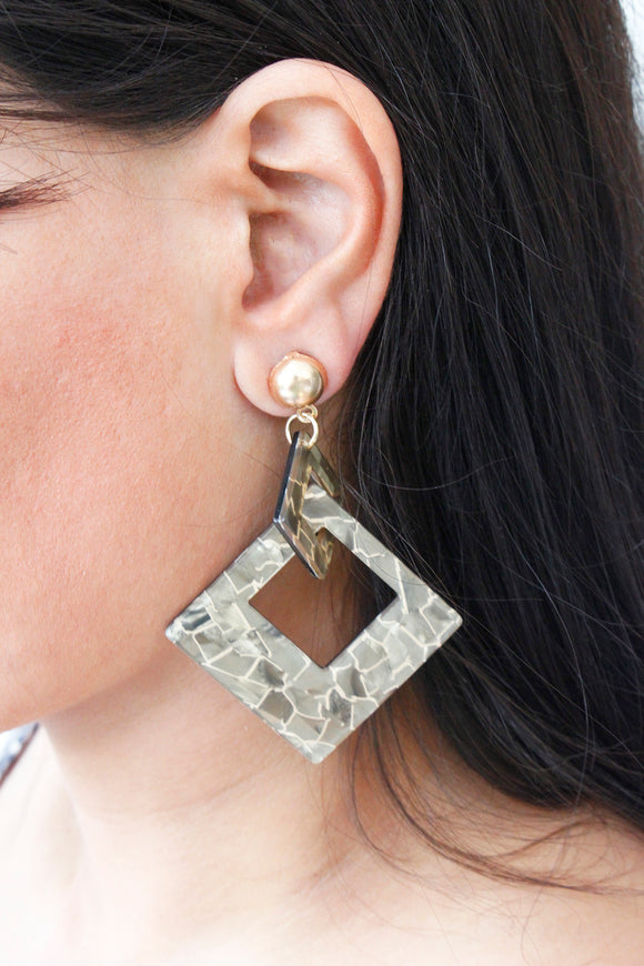 Beige Geometric Acrylic Drop Dangle Earrings