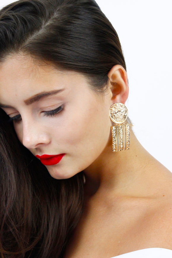Gold Coin Geometric Drop Earrings