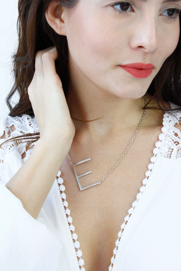 Silver Letter 'E' Monogram Chain Necklace