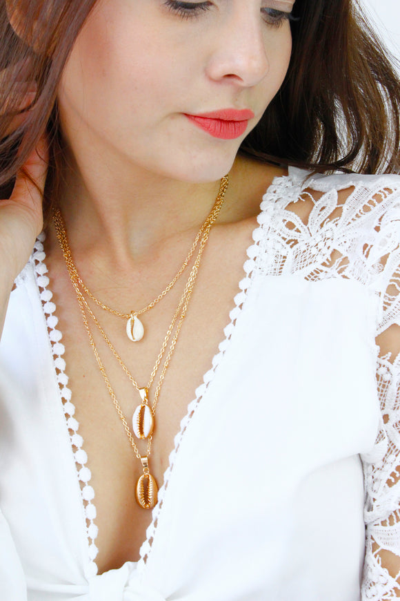 Gold Puka Shell Multi Layer Chain Necklace