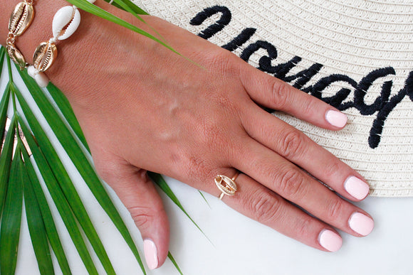 Gold Puka Shell Statement Ring