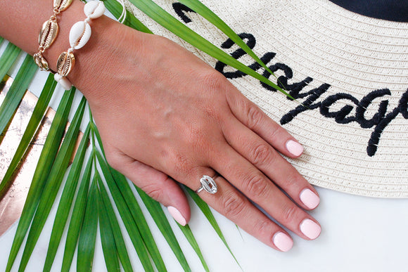 Silver Puka Shell Statement Ring