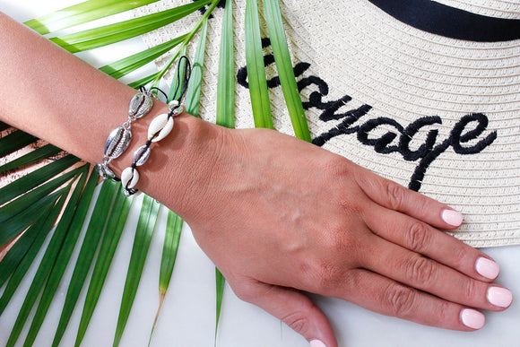 Silver Puka Shell Black Thread Boho Beach Bracelet