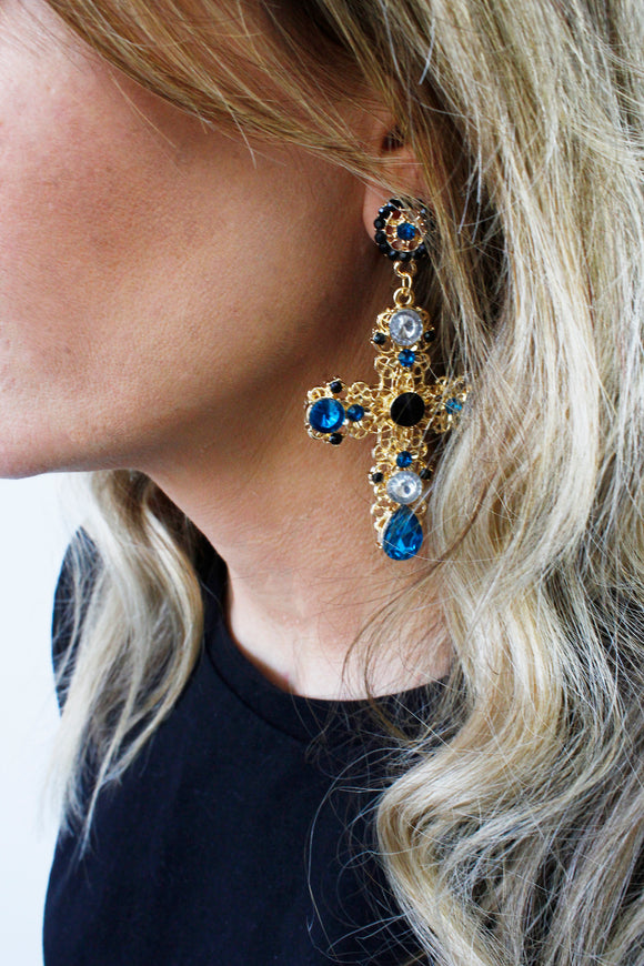 Big Blue Stone Gold Cross Dangle Drop Earrings