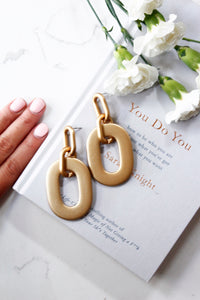 Gold Resin Geometric Hoop Drop Dangle Earrings