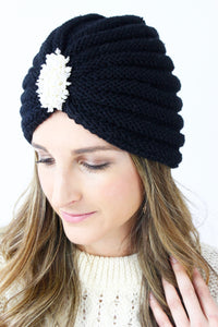 Black Pearl Beaded Ribbed Knitted Turban Beanie Hat
