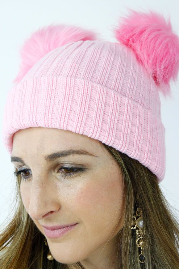 Pink Ribbed Knitted FAUX FUR Double Pom Pom Beanie Hat