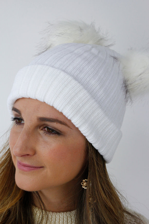 White Ribbed Knitted FAUX FUR Double Pom Pom Beanie Hat