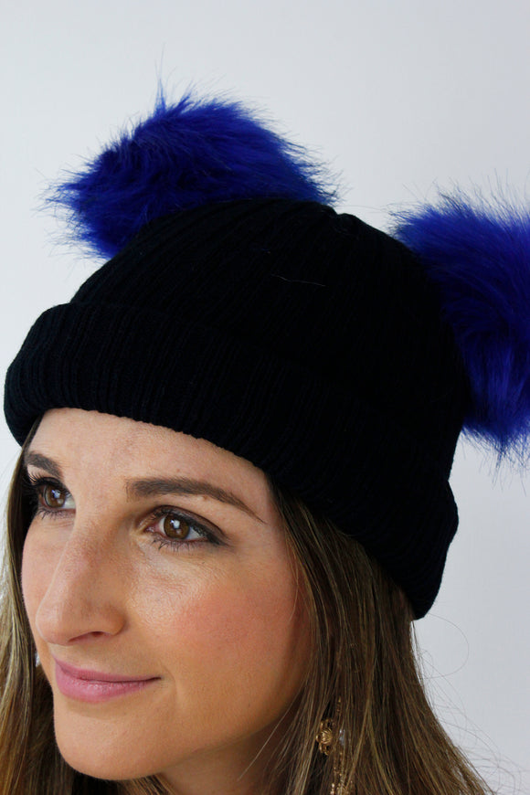 Navy Blue Ribbed Knitted FAUX FUR Double Pom Pom Beanie Hat