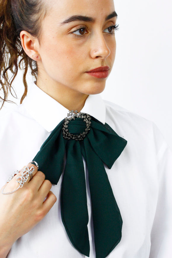 Green Chiffon Bow Tie Choker Statement Necklace