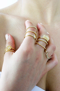 Gold Half Moon Ring Stack