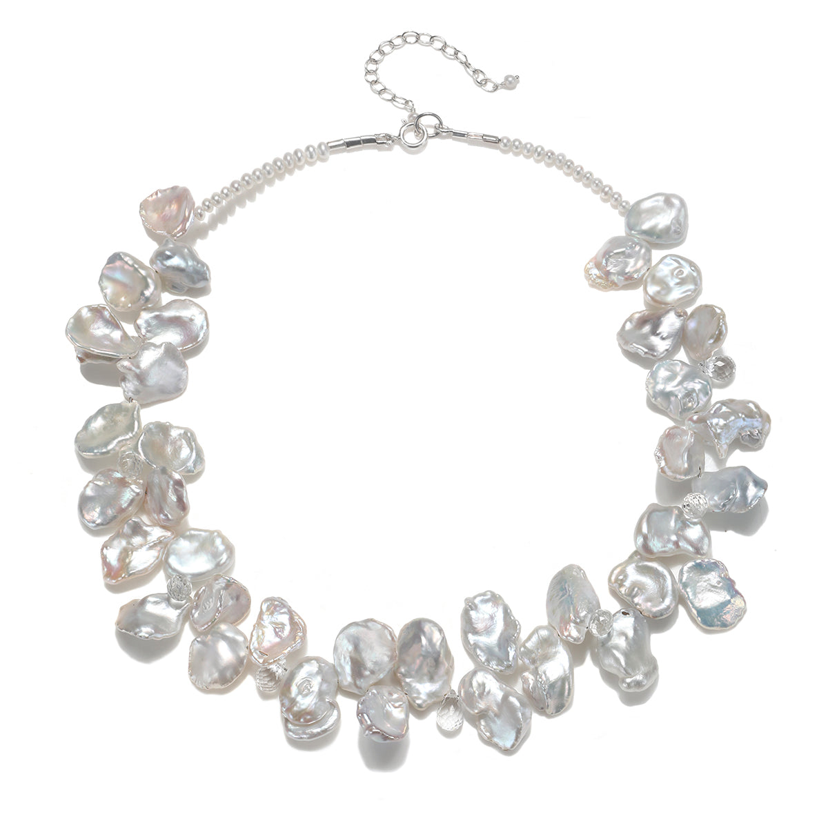 White Keshi Pearl with White Topaz Necklace Silver