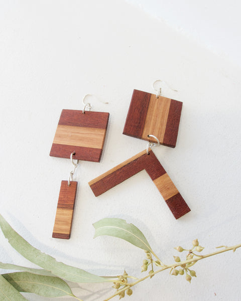 Recycled Wood Earrings - Square