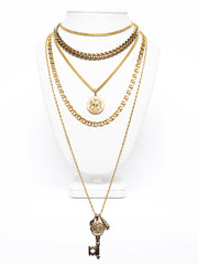 Fredrick Prince Layered Gold Chains With Key Statement Necklace Set/4