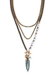 Fredrick Prince Seaside Howlite Asymmetrical Long Necklace Set/3