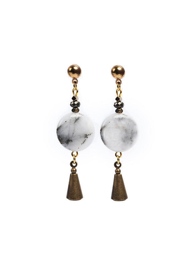 Berlin Unique Quartz With Pyrite Earrings