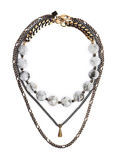 Fredrick Prince Berlin Unique Quartz With Pyrite Statement Necklace Set/2