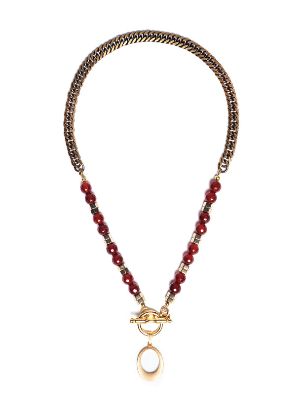 Fredrick Prince Carnelian Layered Toggle Necklace with 14k Gold 2/2Plated Pendant
