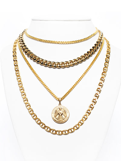 Layered Gold Chains With Medallion Statement Necklace Set/3