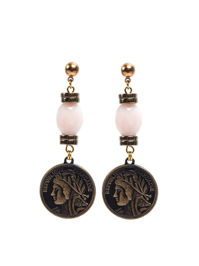 Fredrick Prince Hermosa Beach Pink Opal Coin Earrings