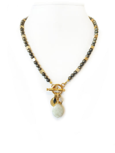 Fredrick Prince Beaded Pyrite Necklace with Toggle in Front