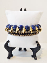 fredrick prince statement bracelet with lapis lazuli beads and pyrite beads