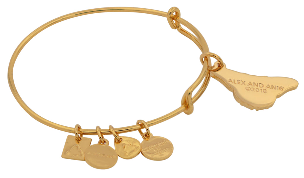 Alex and Ani Charity By Design - Monarch Butterfly Charm Bangle Bracelet - Shiny Gold - Expandable -
