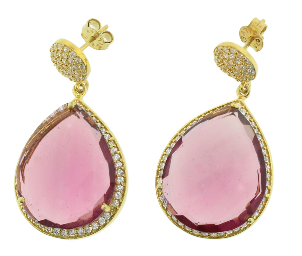 925 Silver Gold Plated Genuine Stone Ruby Hydro With Cz Teardrop Earring -