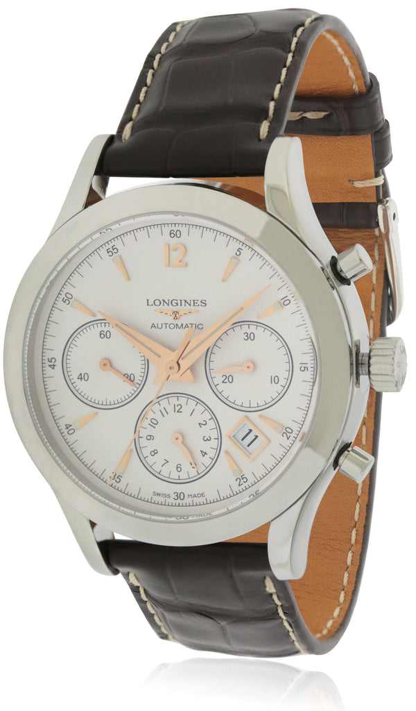 Longines Heritage Chronograph Leather Automatic Mens Watch