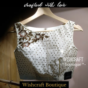 Blouse Design 154 - Trendy Party Wear Blouse with Embroidery - Boatneck Saree Blouse