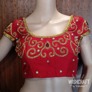 Blouse Design 141 - Trendy party wear saree blouse with stone work