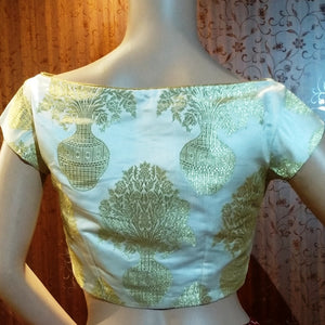 Blouse Design 107 - Boatneck blouse in beautiful print silk fabric - limited edition