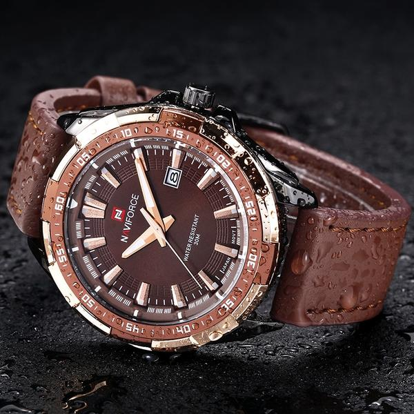 Advance Men's Military Brown or Black Leather Watch