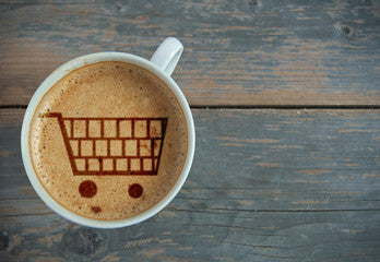 Coffee with shopping cart