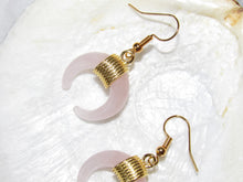 Load image into Gallery viewer, Golden Rose Quartz Moon Earrings