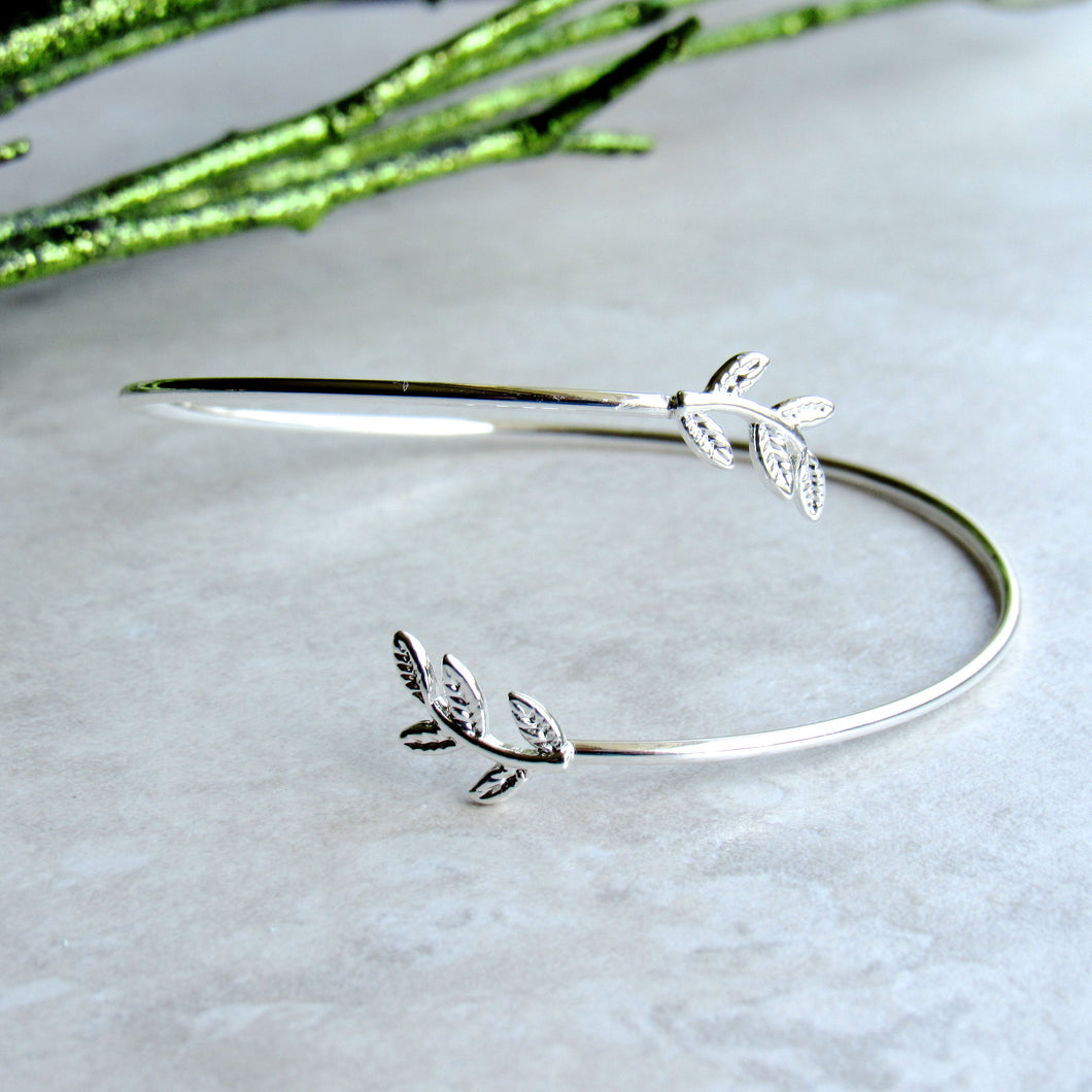 Overlapping Silver Leaf Stem Bracelet Cuff