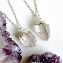 Load image into Gallery viewer, Petite Silver Quartz Point Necklaces