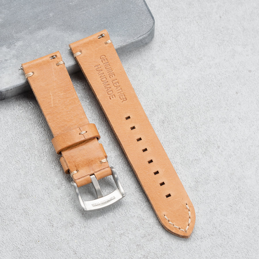 Handmade Full Grain Leather Quick Release Strap - 22mm Light Tan Brown