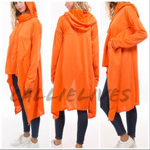 Load image into Gallery viewer, Miz Hi Lo: Kangaroo Hoodie Jacket Cape Top (PLUS)